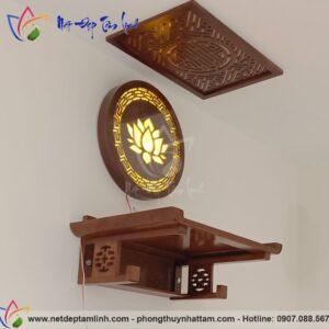Bàn thờ treo tường kết hợp đèn thờ gỗ