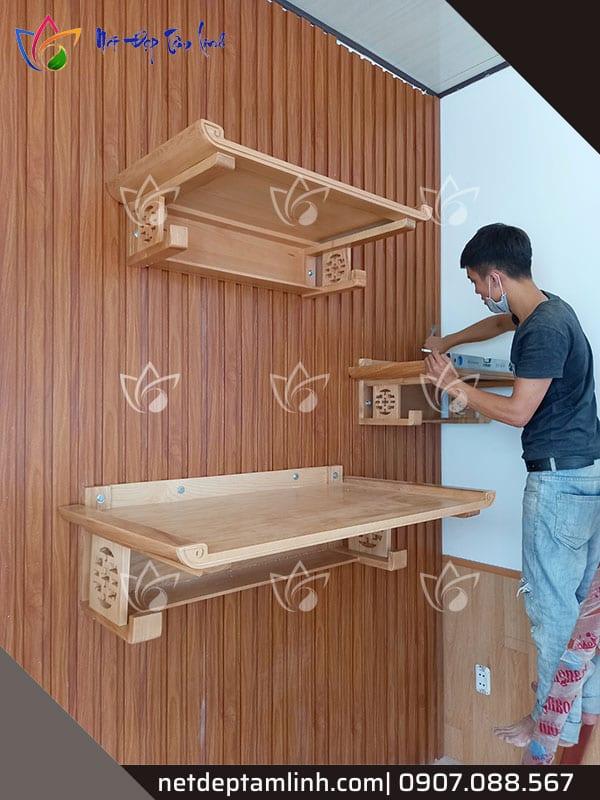 lắp đặt bàn thờ treo tường 3 tầng