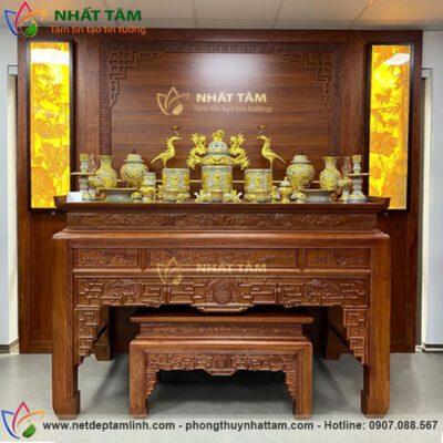 Mẫu bàn thờ để đất thờ gia tiên làm từ gỗ Gõ