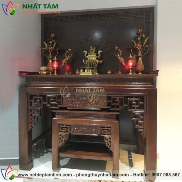 Mẫu bàn thờ gỗ gụ 153 thiết kế hiện đại