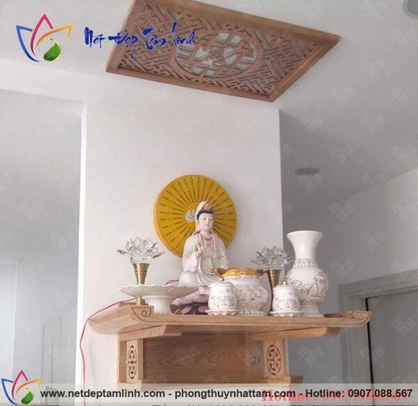 Mẫu bàn thờ Phật treo tường đẹp, bán chạy, sản phẩm của Bàn Thờ Phong Thủy Nhất Tâm