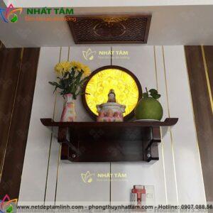 bàn thờ phật treo tường đẹp, mẫu mới 2021, bàn thờ cho chung cư, hiện đại thờ Phật hoặc quan thế âm