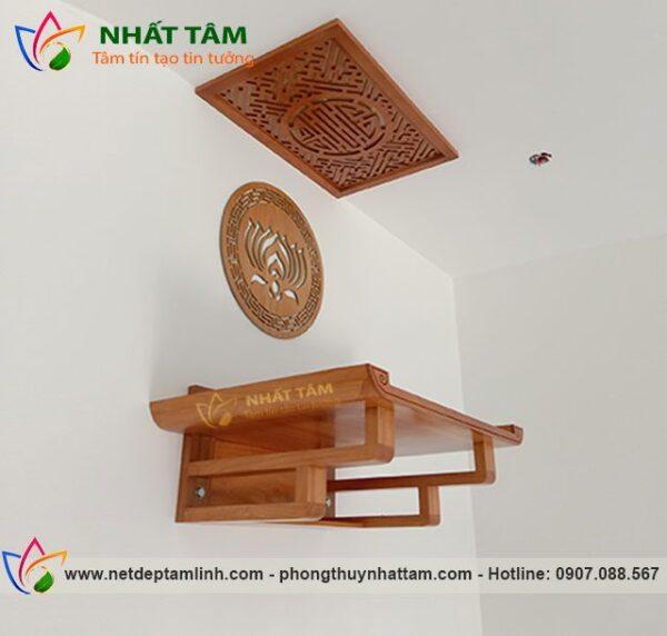 Bàn thờ treo tường gỗ Gõ đẹp thiết kế hiện đại, giá rẻ tận xưởng