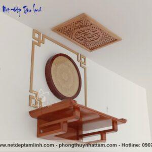 Mẫu bàn thờ gỗ hương chân thang kèm trang trí viền gỗ