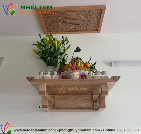 Mẫu bàn thờ treo tường hiện đại, giá rẻ, kích thước chuẩn Phong thủy, sản xuất bởi bàn thờ Nhất Tâm